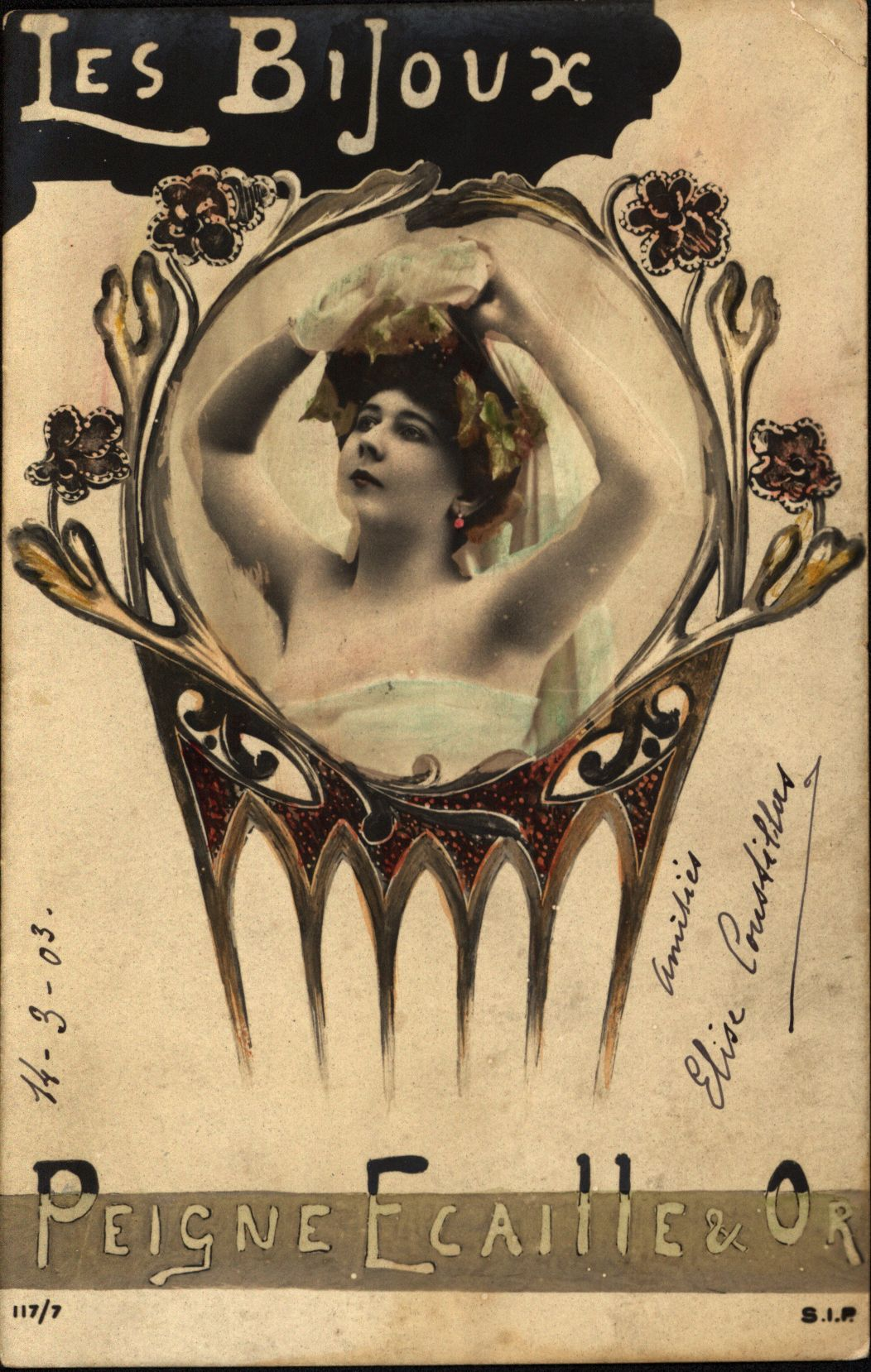 postcard with inscription in French