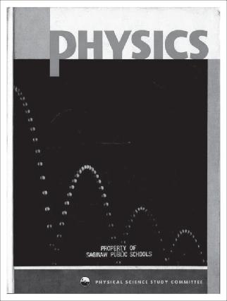 "Physics textbook with Abbott's ""A Bouncing Ball in Diminishing Arcs"" on front cover"