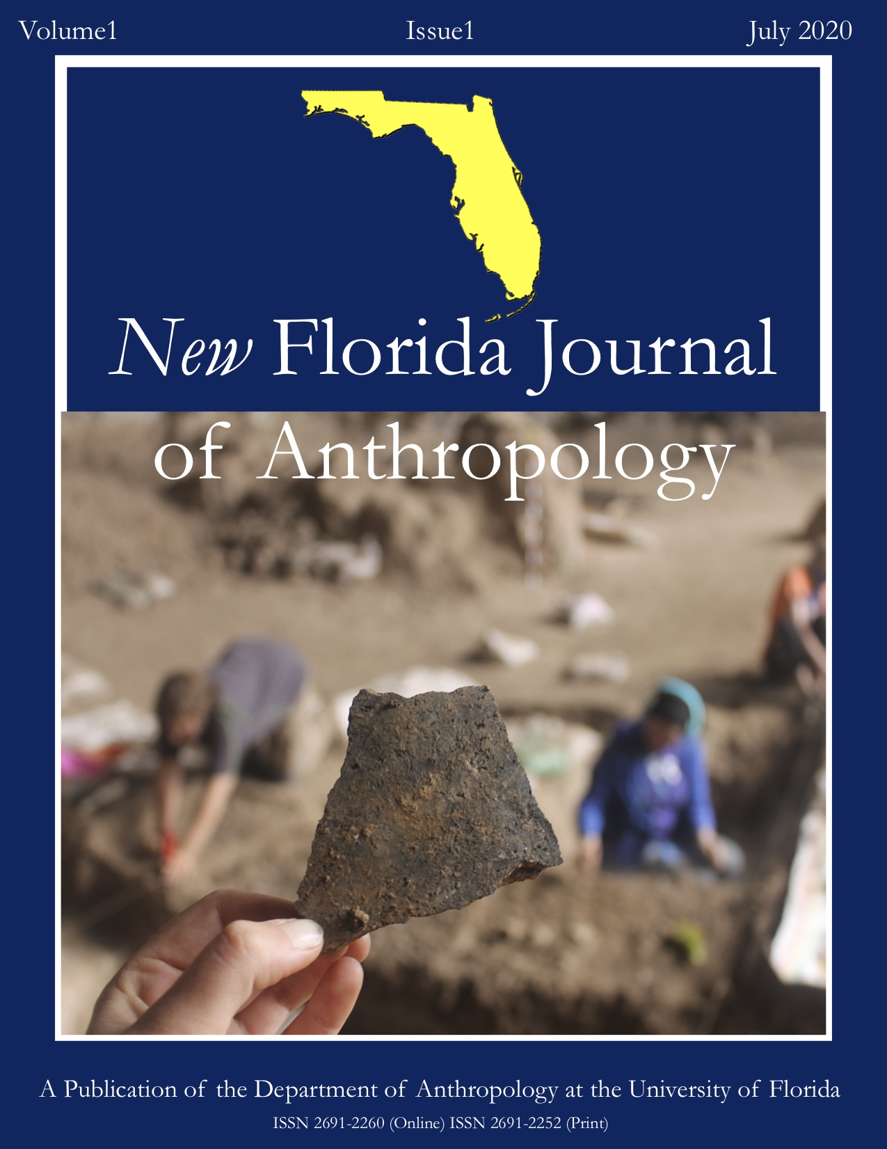 New Florida Journal of Anthropology (NFJA) cover image Volume 1 Issue 1. Depicts an image by Ayelen Garcia-Rudnik of an artifact from the Mochena Borago archeological site.