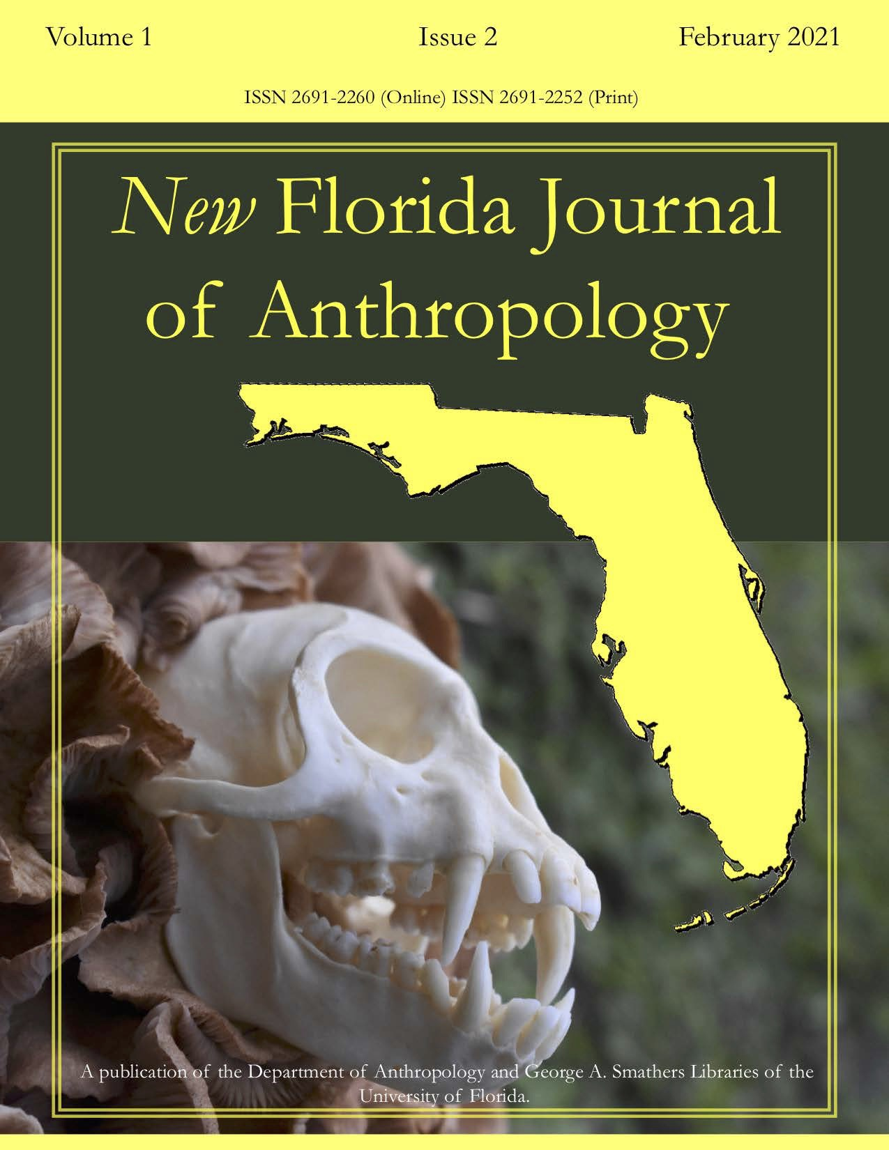 NFJA Florida outline logo in yellow overlaying an image of a male crab-eating macaque (Macaca fascicularis) skull against a backdrop of Armillaria mushrooms.