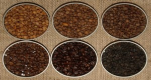 Six coffee roasting grades. From top left to bottom right: light cinnamon, cinnamon, normal, French roasting, espresso and open fire. Credits: Godewind, Wikimedia