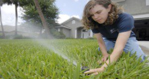 In this photo released from the University of Florida's Institute of Food and Agricultural Sciences, extension agent Janet Bargar checks the water flow and direction of a pop-up irrigation system at a home in Vero Beach.