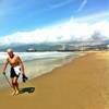 A man on a beach.