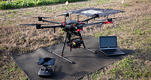 Agricultural drone setup at a crop field.