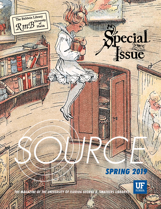 Cover image for SOURCE: Spring 2019, featuring an image of Alice in Wonderland.