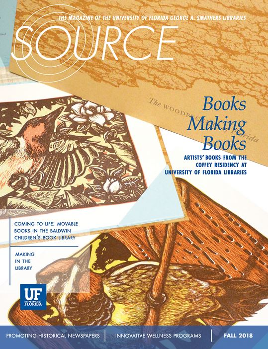 Image of the front cover of Source magazine, showing images of woodcuts of birds.